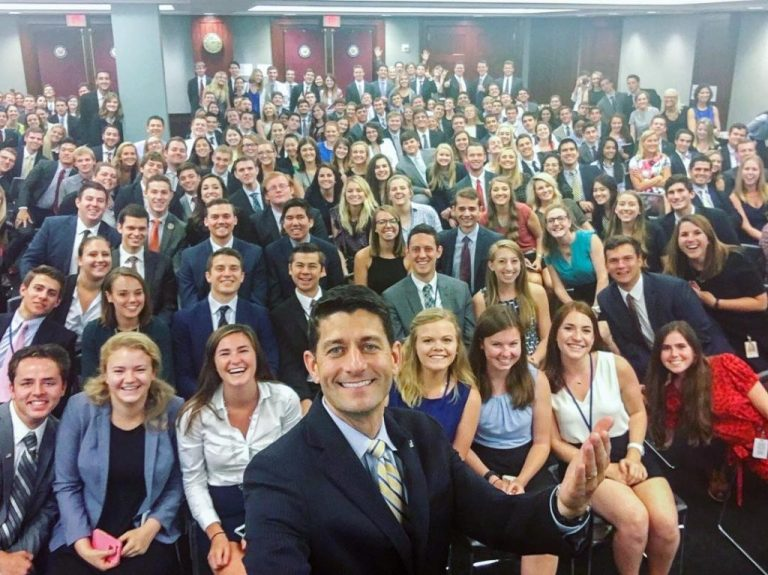 Paul Ryan takes picture with interns on Capitol Hill